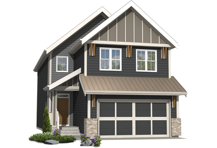 Arbour Lake West front garage home rendering